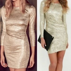 Lulus | Long Sleeve Gold Bodycon Dress NWT